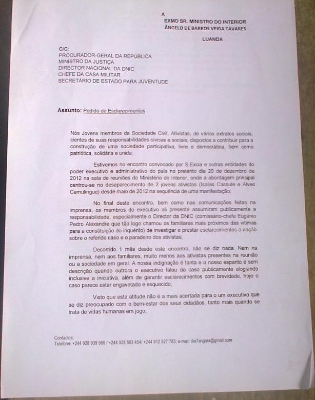 Carta à entidades competentes