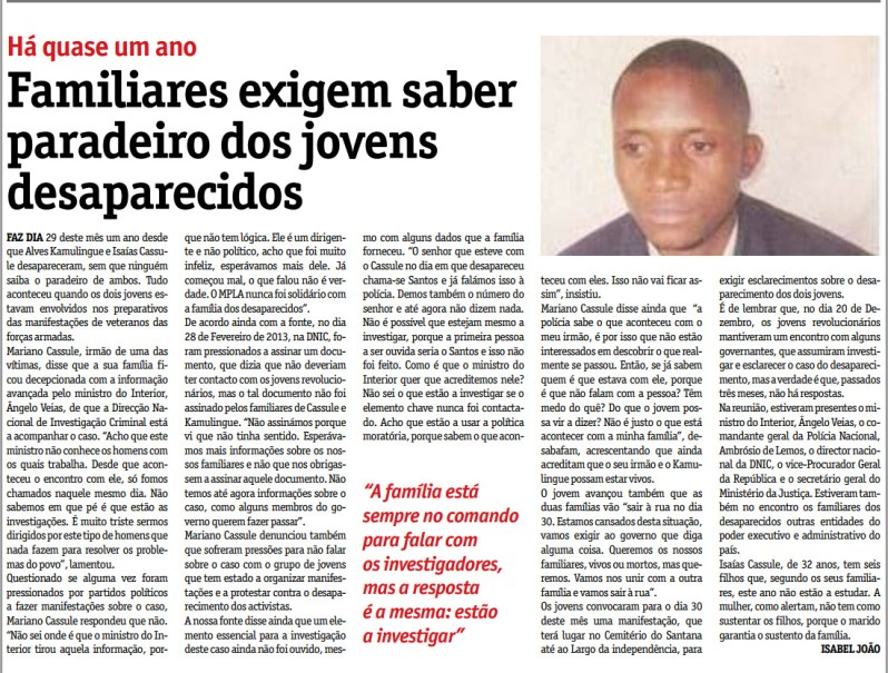 Kassule Kamulingue Novo Jornal