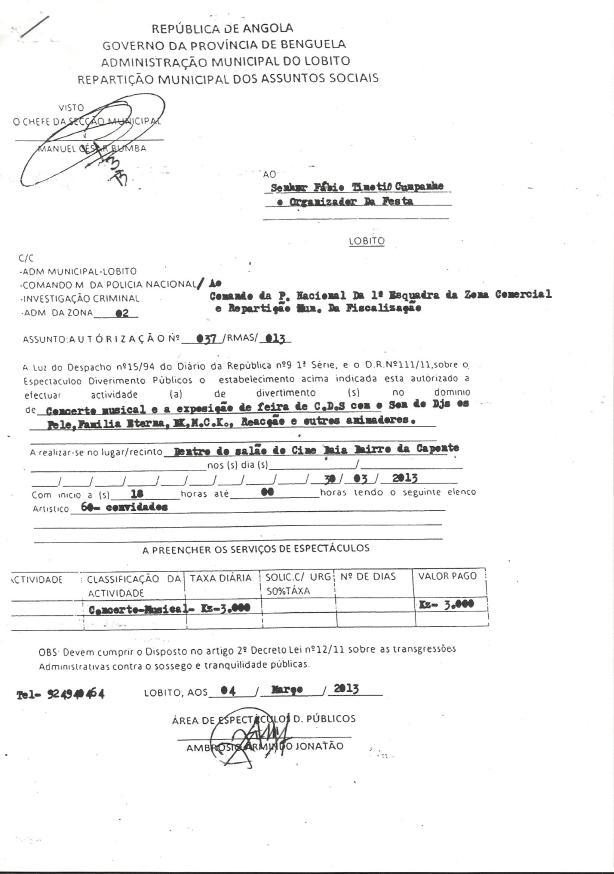 FAMILIA ETERNA Autorizacao da Rep. Cultura