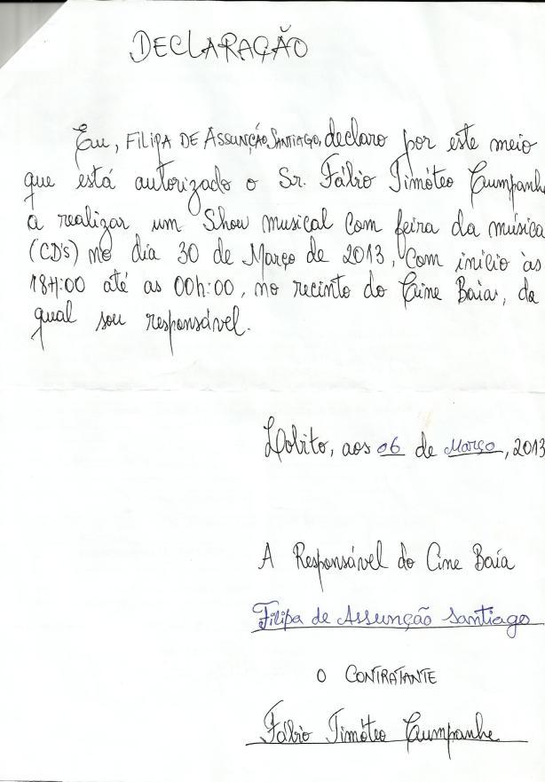 FAMILIA ETERNA Declaracao de Cedencia do Recinto