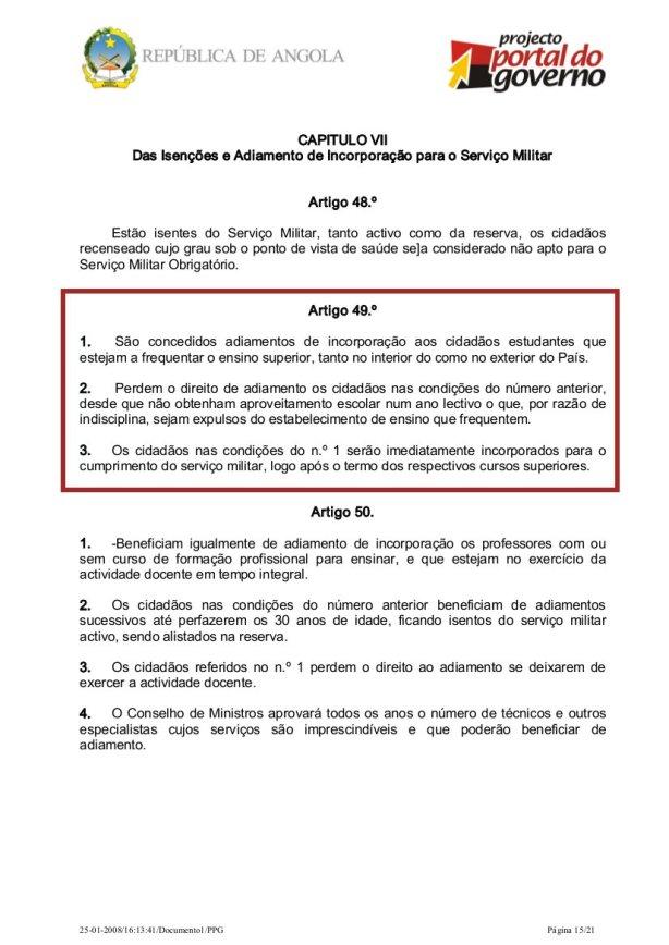 Lei usada para autorização militar de saída do país