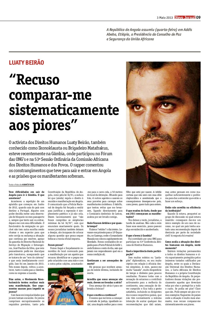 Luaty Beirão Entrevista no NJ 03.04.2013