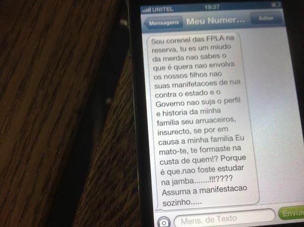 José Macuva Ameaça SMS 00