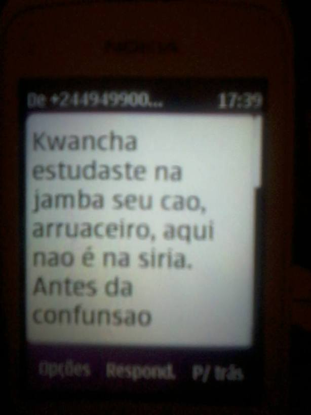 José Macuva Ameaça SMS 01