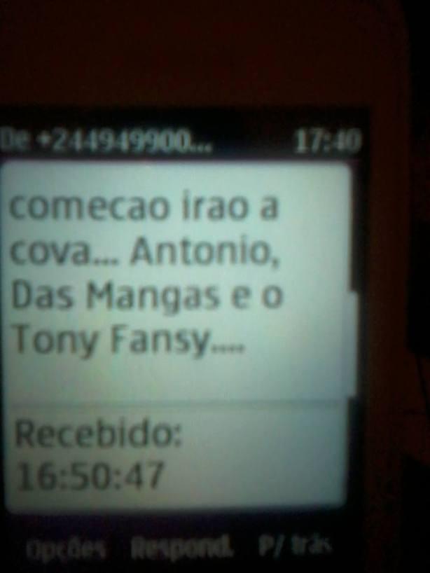 José Macuva Ameaça SMS 02