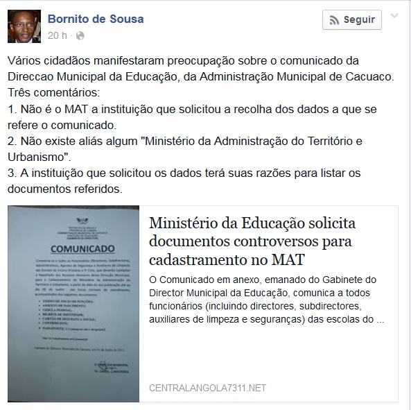 Post do Ministro Bornito no seu mural de facebook